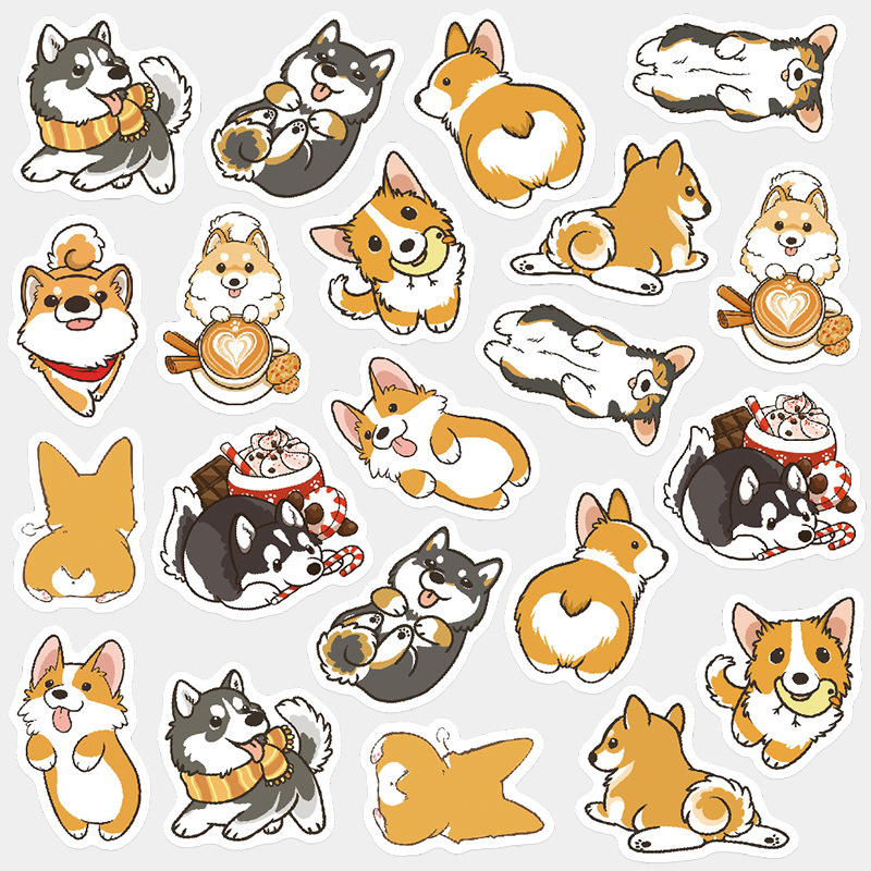Cute Husky Corgi Pet Dog Bullet Journal Decorative Washi Stickers Scrapbooking Stick Label Diary Stationery Album Stickers