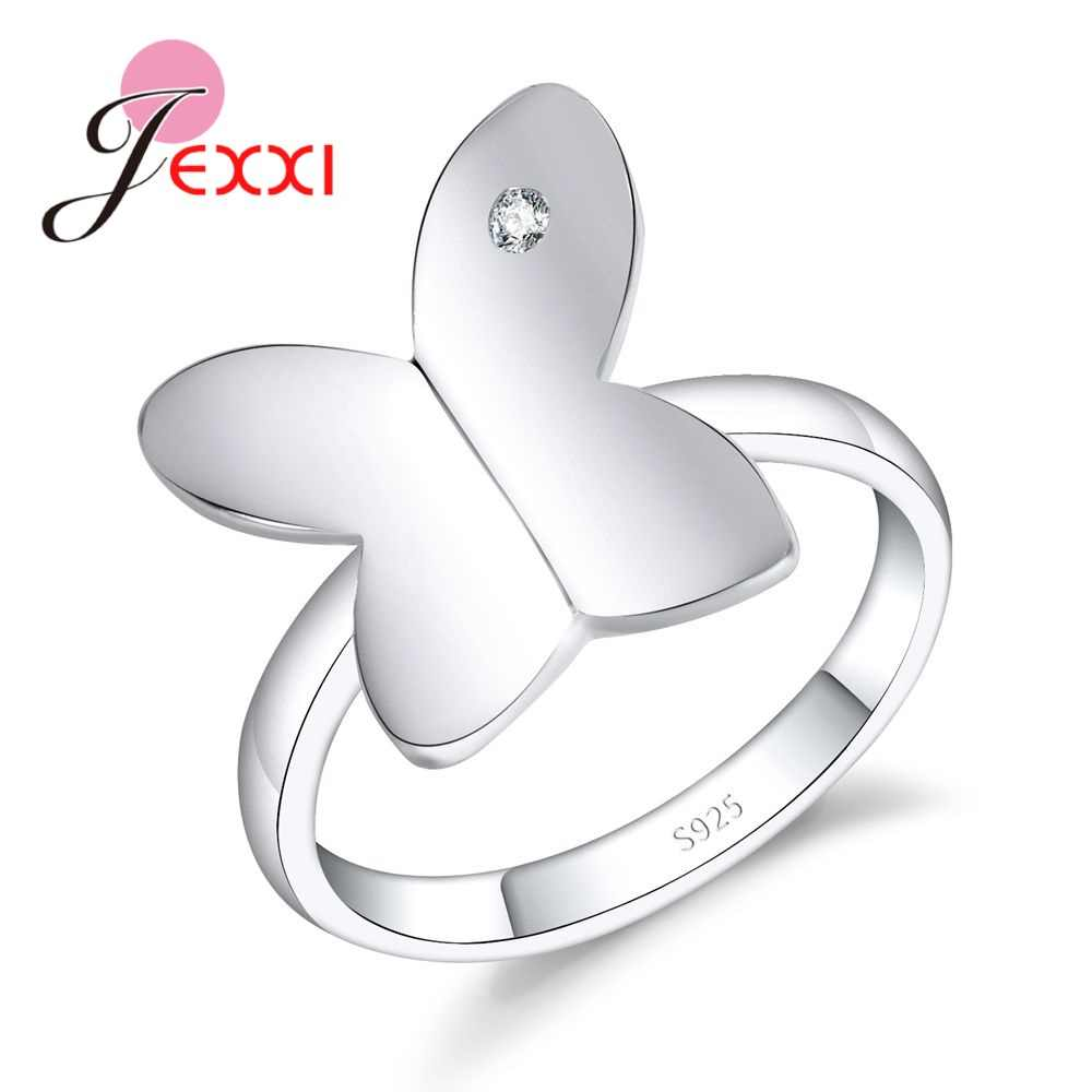 Valentine's Day 925 Sterling Silver Luxury Crystal Butterfly Rings for Women Jewelry Fashion Wedding Anniversary Ring