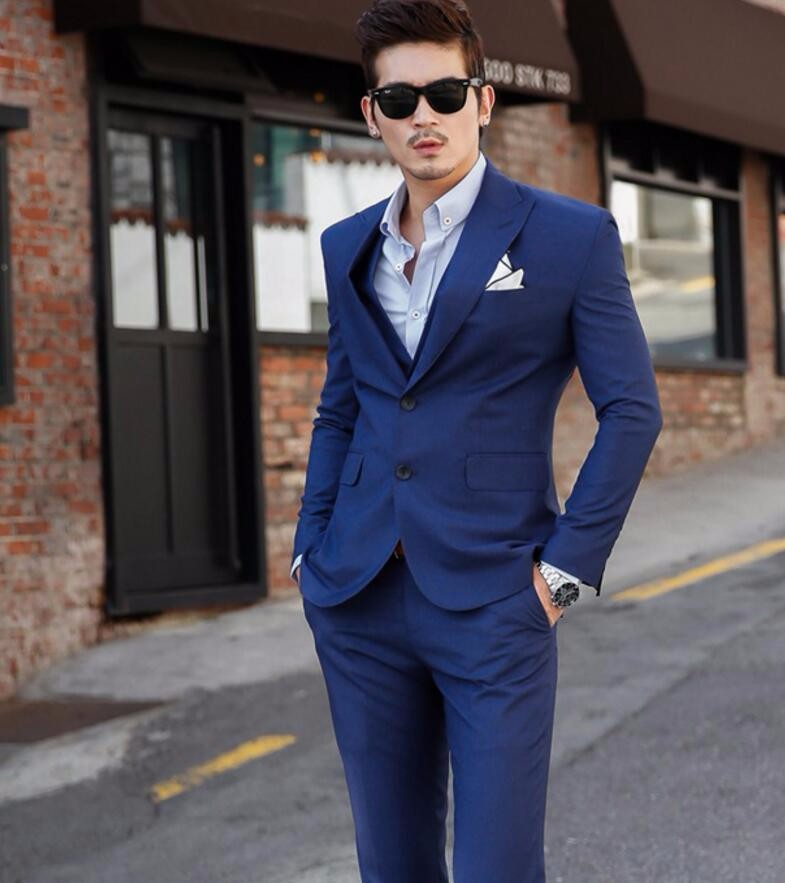 54.1 The groom dress custom royal blue show thin three-piece best man suit man suit the groom wedding dress (jacket + pants + vest)