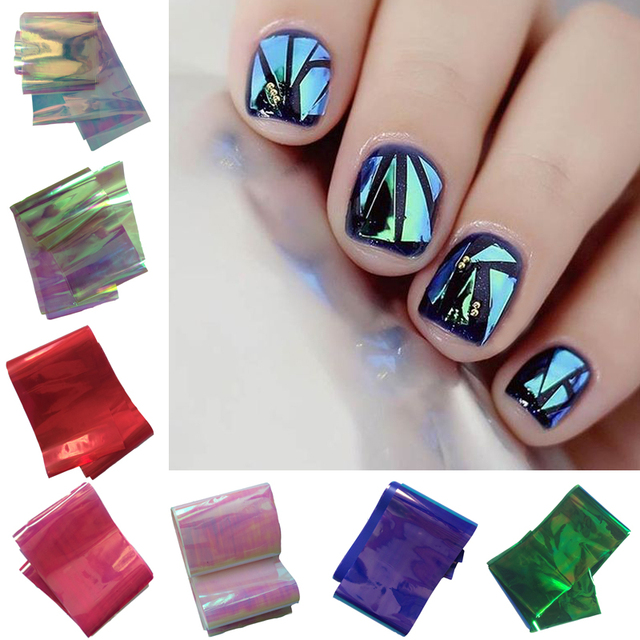 1pcs 5100cm Holographic Shiny Laser Nail Transfer Foils Stickers