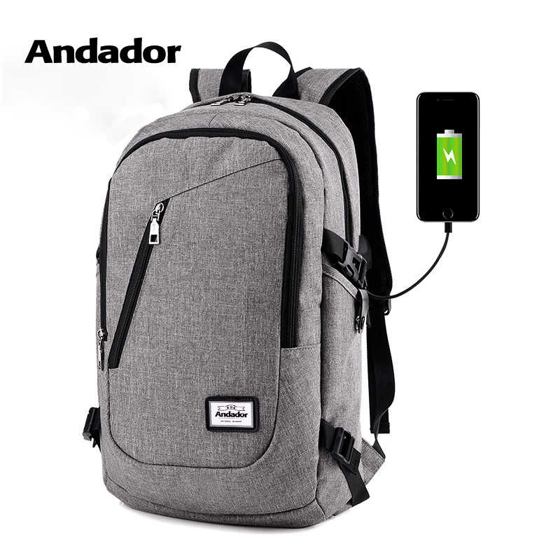 Fashion man laptop backpack usb charging computer backpacks casual style  bags large male business travel bag 0f6ef5c75b634