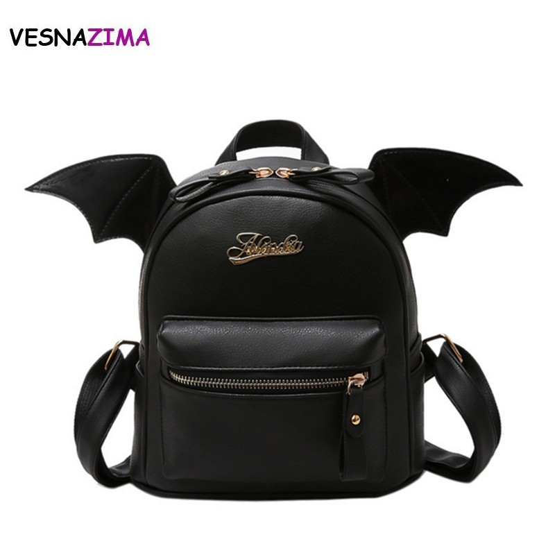 Vesnazima Pu Leather Backpack Women Bat Wings Backpack Teenage Girls Mini Black Bag Fashion Mini Shoulder Bag Mochila New Wm666z