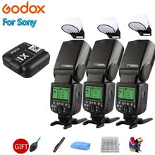 3X Godox TT685S TT685-S 2.4G TTL GN60 HSS 1/8000s Camera Flash Speedlite + X1T-S Transmitter Trigger for Sony A7SII A7RII A7III