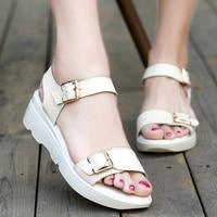 ULKNNwomen Sandals PU Leather Flat Sandals Low Wedges Summer Shoes Women Open Toe Platform Sandals Women