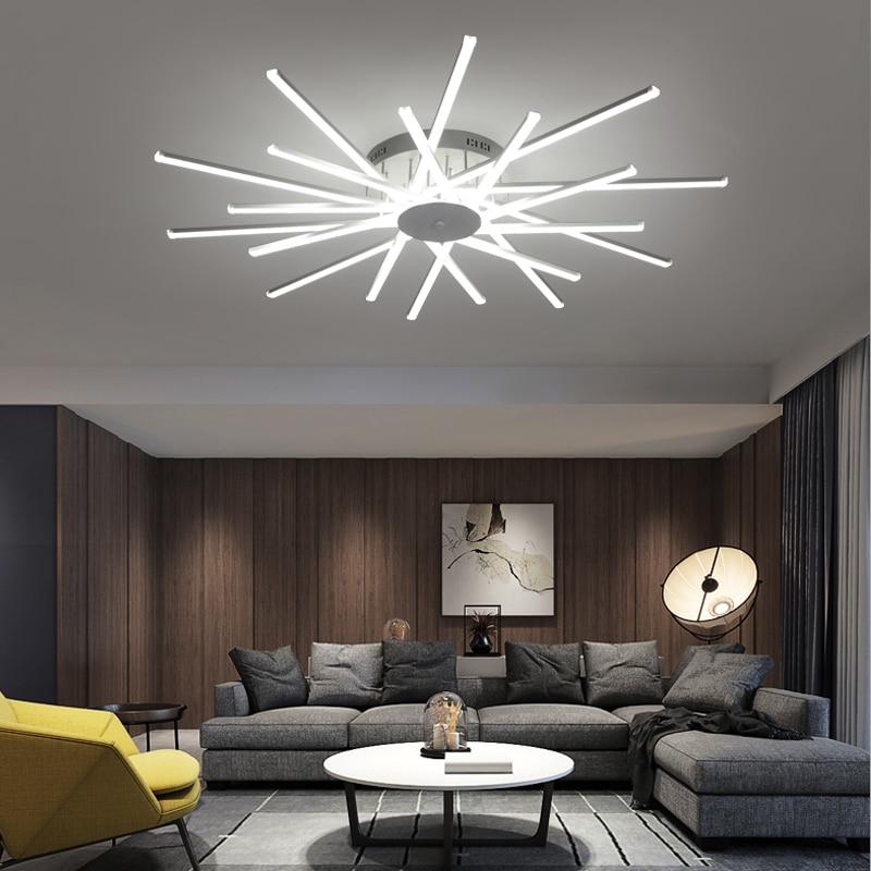 Новые светодио дный Современные светодиодные люстры для гостиной спальни столовой светильник Люстра потолочная лампа затемнения домашнег...