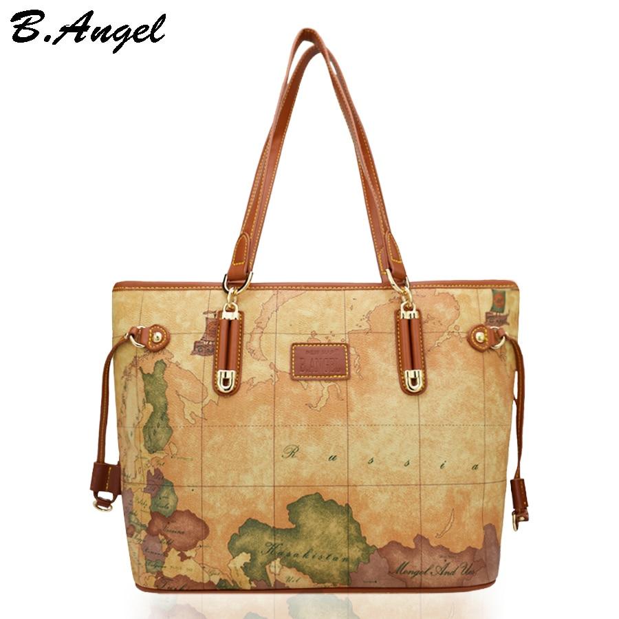 baa7055010e Vintage world map women bag luxury handbags women bags designer women  fashion leather handbags ladies shoulder bag Tassel bag