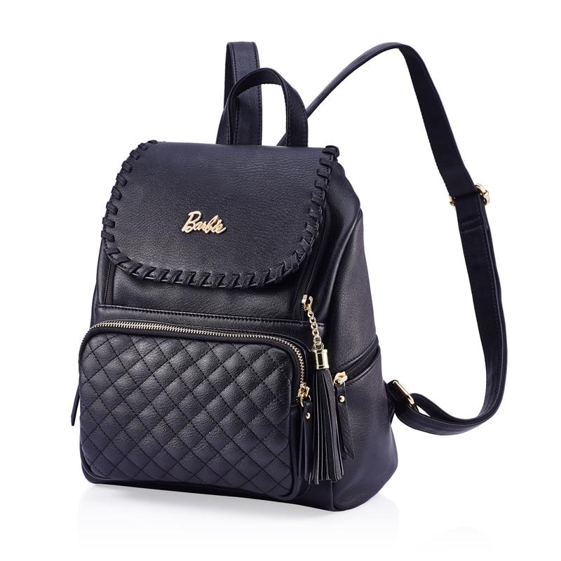 2017 Barbie Women backpack black Diamond lattice girls leather backpacks school Bags Fashion Trend Brief Bag For Ladies