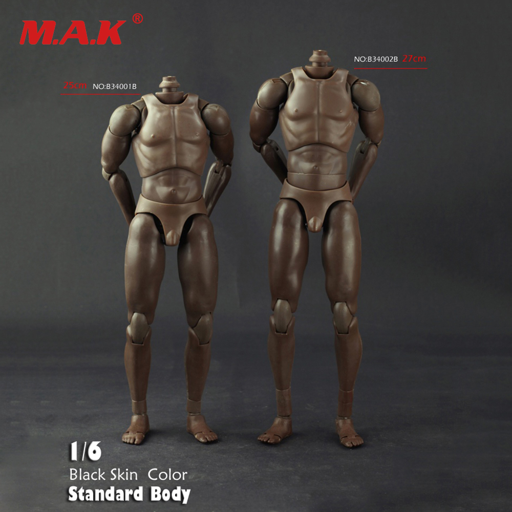 1/6 Scale B3401B/B3402B Standard Male Nude Body Narrow Shoulders Black Skin color Fit HT Toys Action Figure Accessories