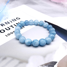 Натуральный браслет Aquamari с одним кристаллом, Эластичный Романтический браслет с голубым кристаллом для йоги, Женские Ювелирные изделия 4,6, 8,10, 12 мм, бусины