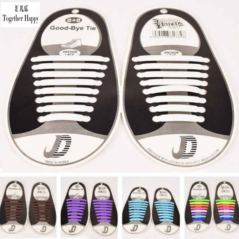 2017 16Pcs/Set Hot Sale Fashion No Tie Elastic Shoe Lace Silicone Trainers Shoes Adult Kids Shoelaces Free Shipping DJ-S2788