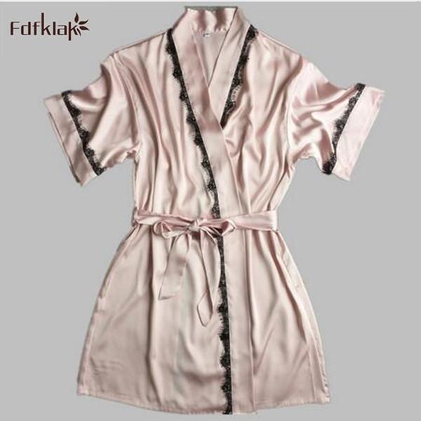 Robe De Cetim De Seda de alta Qualidade Sólida Primavera Verão Mulheres Sexy Roupão Roupão Roupa Em Casa Sleepwear Roupões de Banho das Mulheres A6