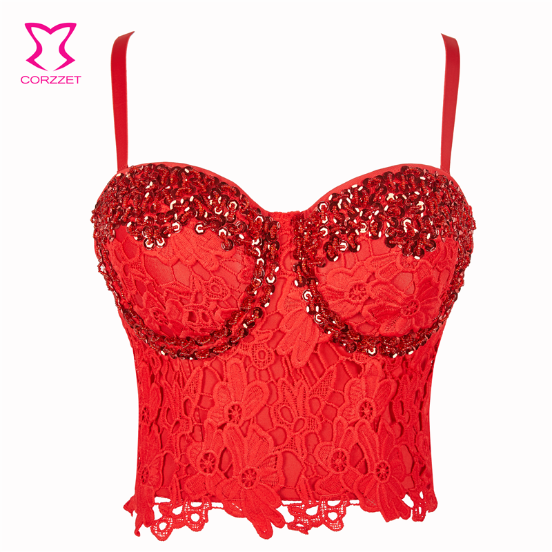 91e0f259cc27a Red Beaded Sequined Floral Lace Sujetador Encaje Sexy Bra Hot Bralette Crop  Top Bustier Gothic Brassiere