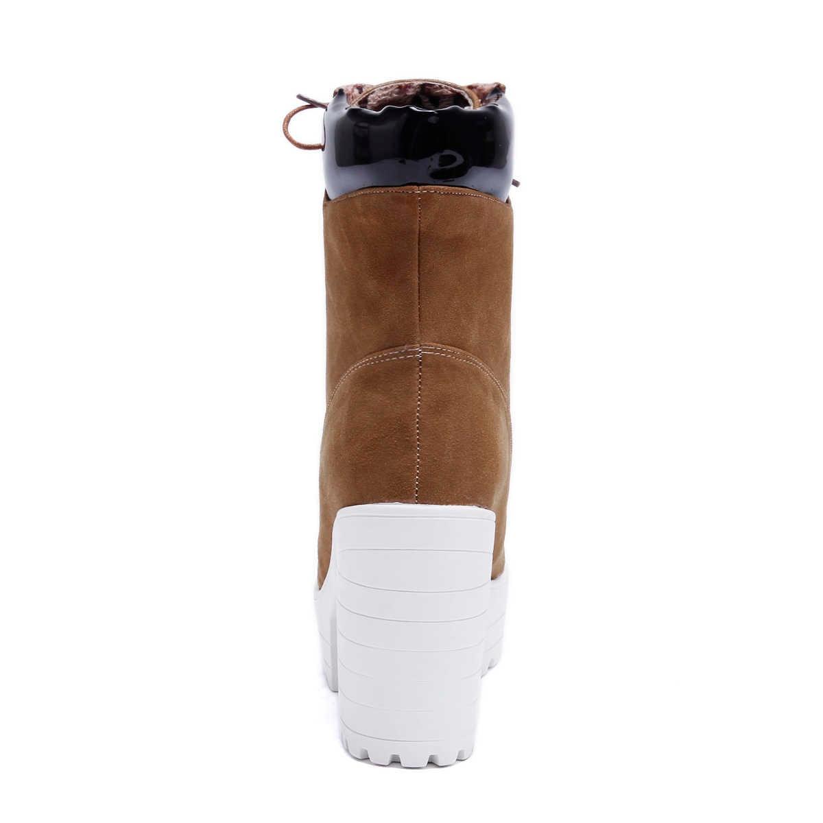 Kadın Platformu Çizmeler Akın Kare Yüksek Topuklu yarım çizmeler Lace Up Sonbahar Kış Moda Bayanlar Ayakkabı Artı Boyutu 2018 Yeni