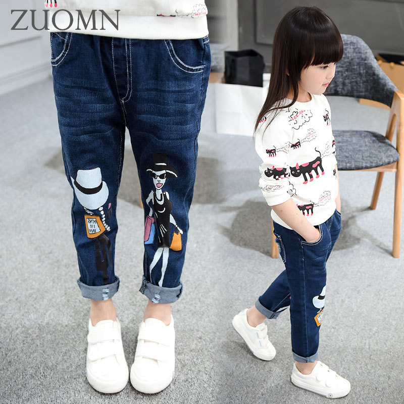 2017 Spring Kids Jeans For Girls Denim Pants For Children Cotton Trousers Leisure School Fashion Child Casual Capris GH388 liva girl spring women low waist sexy knee hole skinny jeans brand fashion pencil pants denim trousers plus size ripped jeans