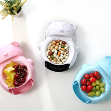 050 Cartoon Bear Double drawer fruit plate lazy tray mobile phone bracket chip snack plates 25*14*10cm