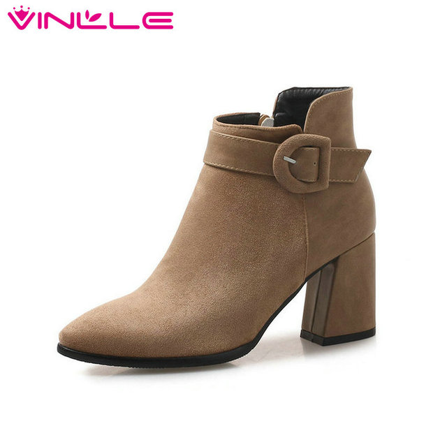 VINLLE 2019 Vintage Style Women Shoes Ankle Boots High