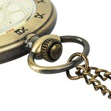 Vintage Gold Roman Steampunk Pocket Watch Quartz Necklace Pocket and Watch Chain Watch Chain Men's and Women's Round Clock
