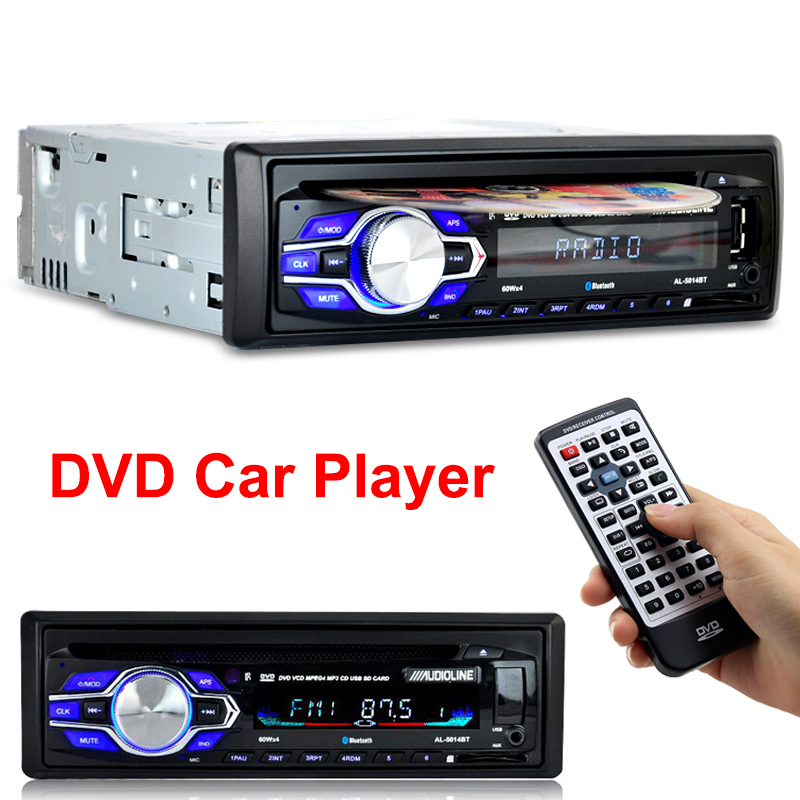 Din rádio Do Carro DVD Player Automotivo 1 12 V Bluetooth Autoradio Áudio Auto Stereo USB AUX DVD VCD CD MP3 cartão SD Rádios Parágrafo Carro