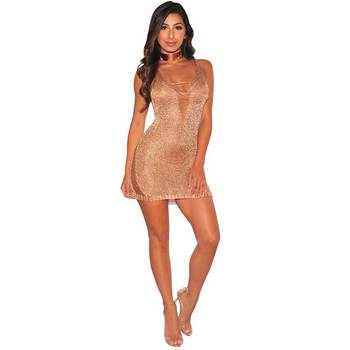 Women Sexy Knited Crochet Mini Dress Gloden Luxury Shiny Tight Short Dress Hollow Out Straps Club See Through Dress Bodycon