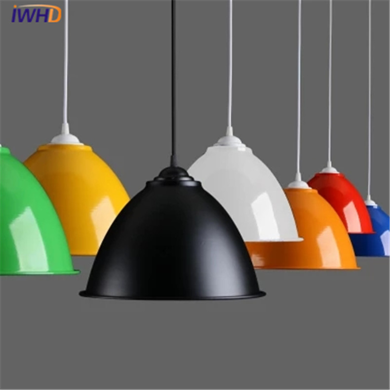 IWHD Nordic Style Modern Pendant Light LED Colorful Hanging Lamp E27 Lid Pendant Lamps Dining Room Light Aluminium Lampshade