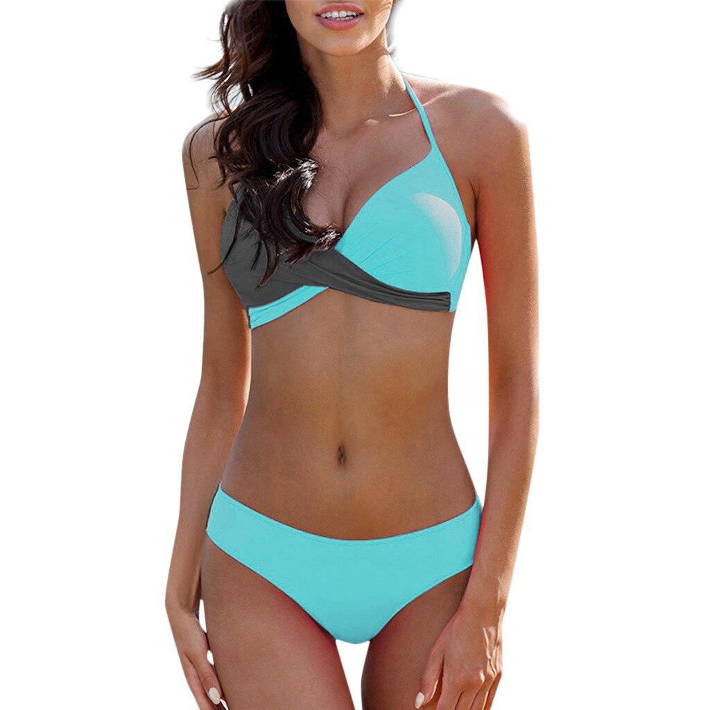 7 Colors Womens Padded Push-up Bra Tankini Bikini Set 2019 Swimsuit Low Waist Bathing Suit Swimwear Two Pieces Halter Beachwear
