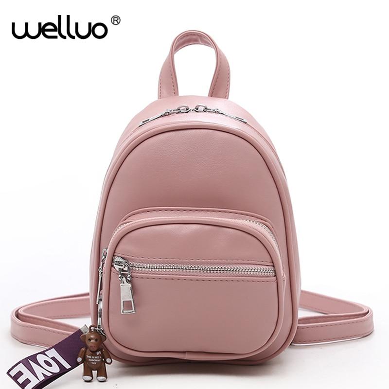 Wellvo Cute Mini Backpack Women for Children Girls Samll PU Leather Bag 2018 New Designed Solid Zipper Students Rucksack XA274WB