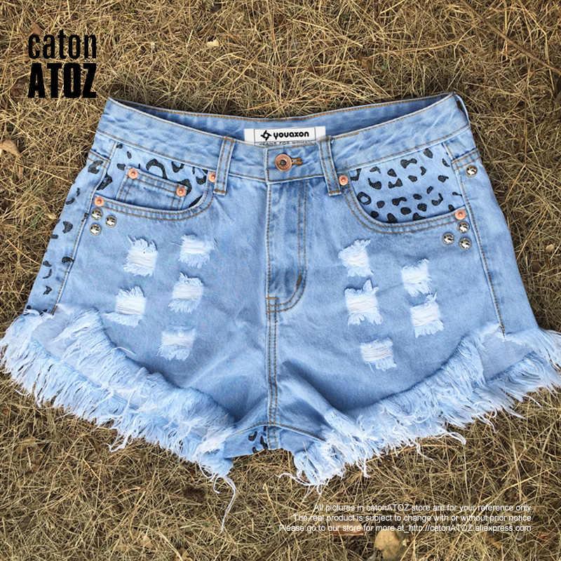 3ce989d5ea85 ... catonATOZ 2054 Women's Summer Brand Vintage Tassel Leopard Rivet Ripped  Short Jeans Punk Sexy Woman Denim ...