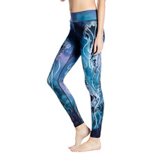 Vrouwen Gym Leggings Water Blauw Zeewier Print Yoga Broek Hoge Taille Push Up Fitness Plus Size Sport Leggings Dropship Yoga0023