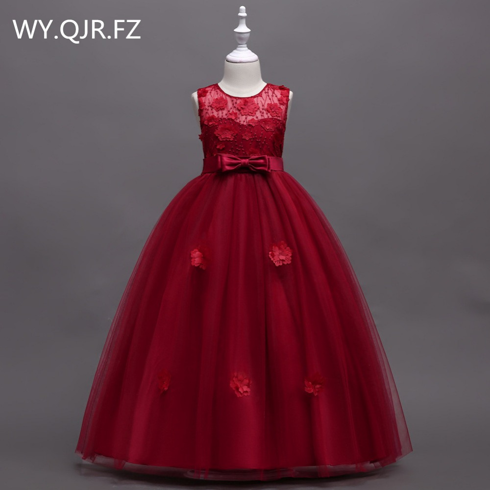 BH591J#Wine Red Bubble Skirt Princess Performance Flower Girl Dresses Long Wedding Party Prom Dress Wholesale Children's Clothes