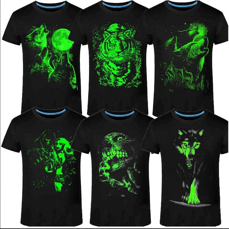 2018 New 3D man's T-shirt Leisure Fluorescent Personalized Short-sleeve Luminous Tee Shirt Summer Tops Men T-shirt light clothes