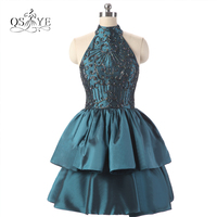 2017 New Real Photo Sexy High Neck Short Ball Gown Prom Dresses Exquisite Beaded Taffeta Homecoming Party Gowns Custom Made