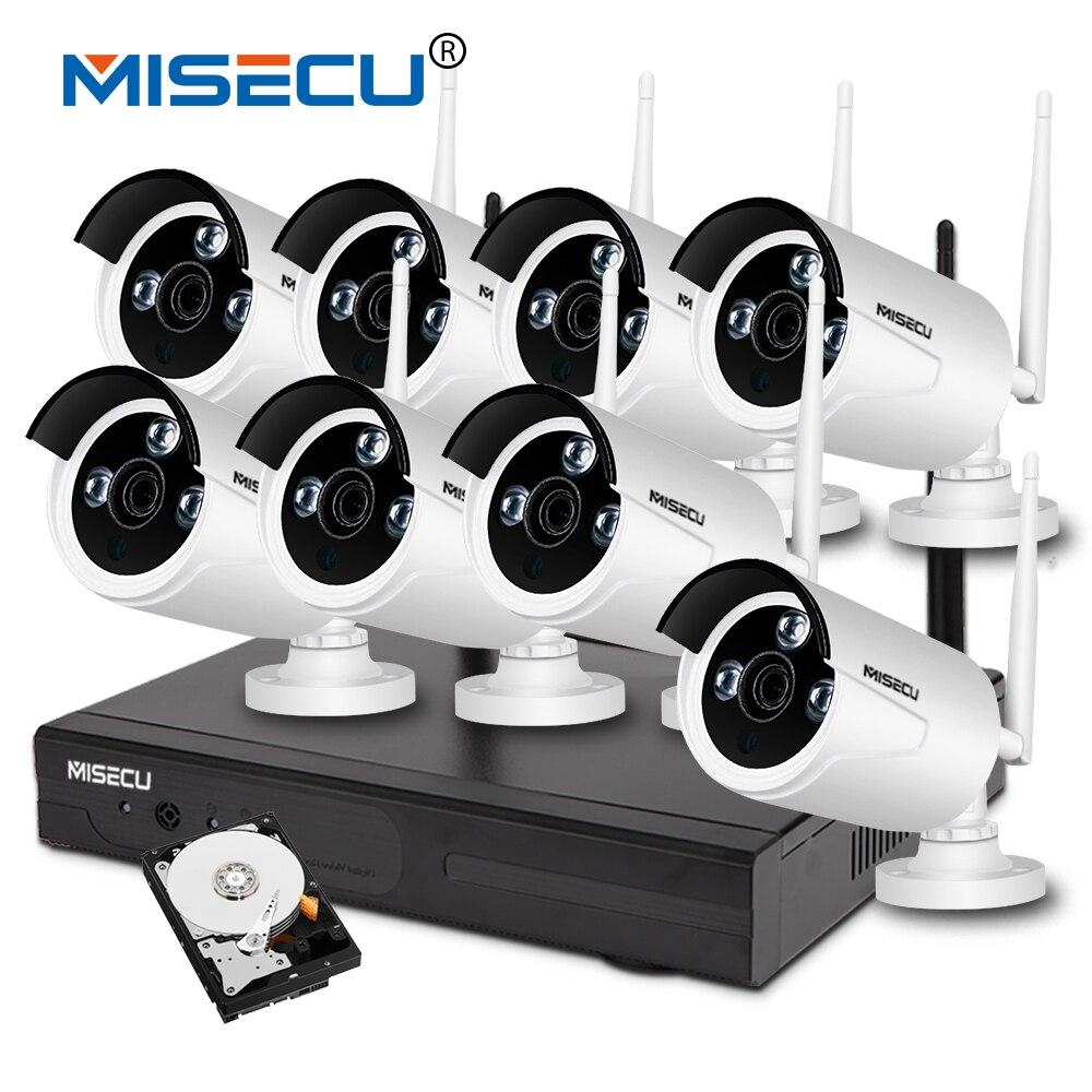 MISECU plug play 720P VGA HDMI 8CH HD NVR wifi KIT night vision 4TB HDD Wireless