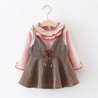 2018 Çocuk Giyim Kız Elbise + T Gömlek 2 Parça Flounced Set Prenses Bebek Çocuk Bahar Yeni Varış Kore Bluz + Elbise setleri