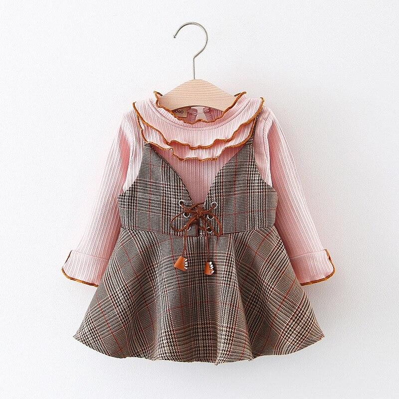 2018 детская одежда Обувь для девочек платье + воланами футболка Комплект из 2 предметов для маленькой принцессы дети весна Новое поступление ...