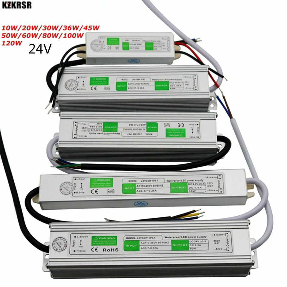 10W-120W 24V Power Supply Adapter AC110V 220V TO DC 24V IP67 Waterproof LED Driver Lighting Transformer for led strip bar lights