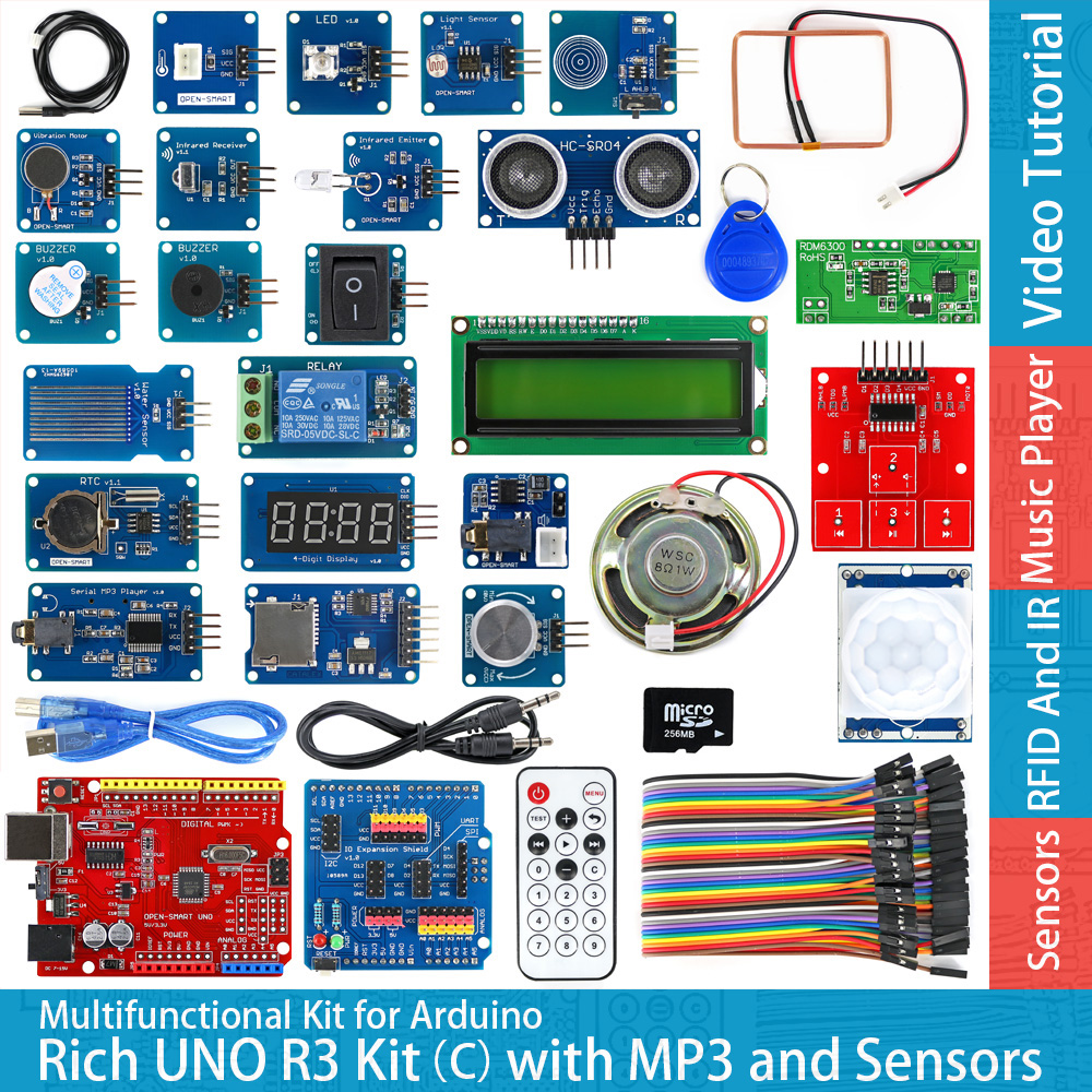 Rich UNO R3 Atmega328P Development Board Module Kit C Compatible With Arduino UNO R3,with MP3 RTC Temperature Touch Sensor