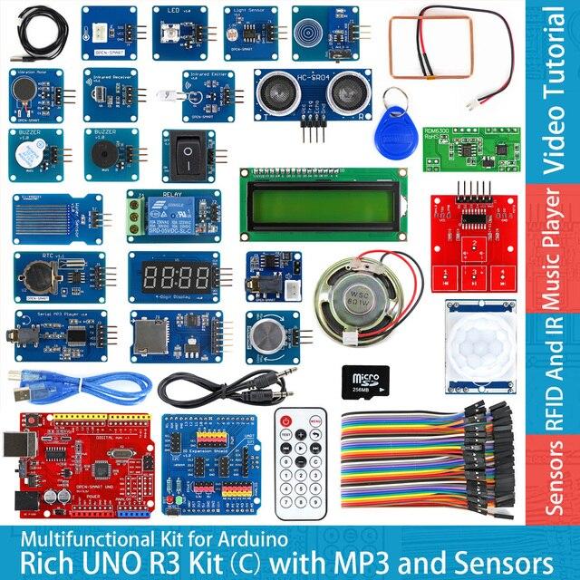 Rich UNO R3 Atmega328P płyta modułu rozwojowego zestaw C kompatybilny z arduino UNO R3, z czujnikiem temperatury MP3 RTC