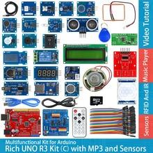 مجموعة وحدة لوحة التطوير UNO R3 Atmega328P الغنية C متوافقة مع Arduino UNO R3 ، مع مستشعر اللمس لدرجة الحرارة MP3 RTC