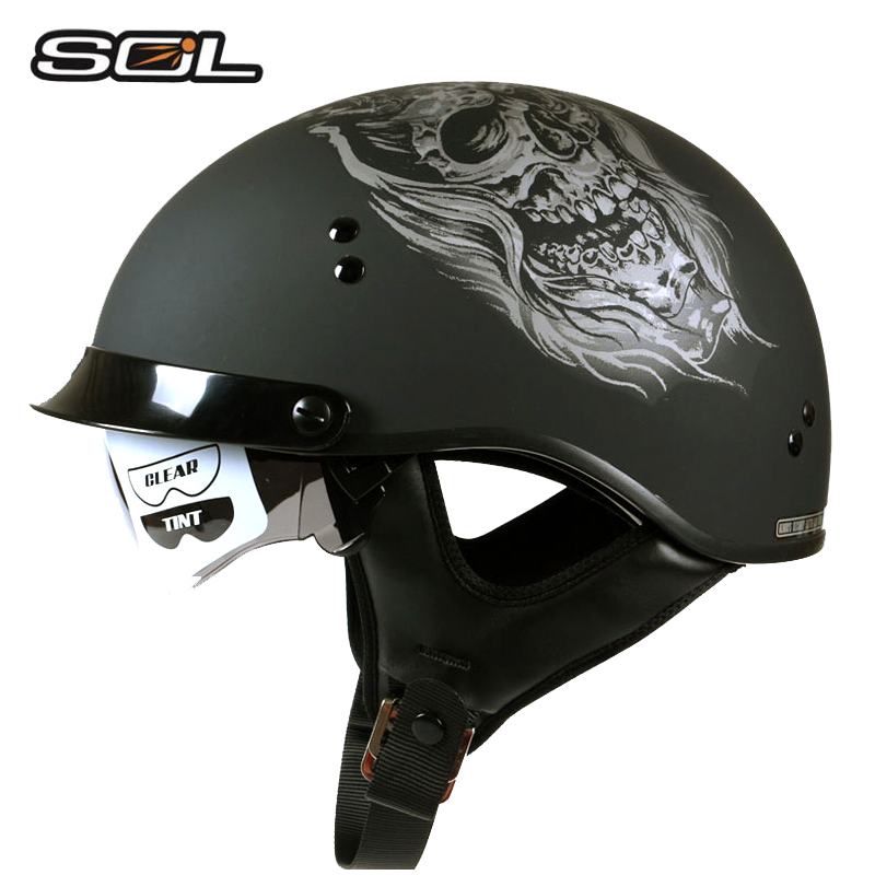 SOL Brand harley motorcycle helmet man open face moto helmets with inner sun Glass racing Retro Helmets DOT Approved