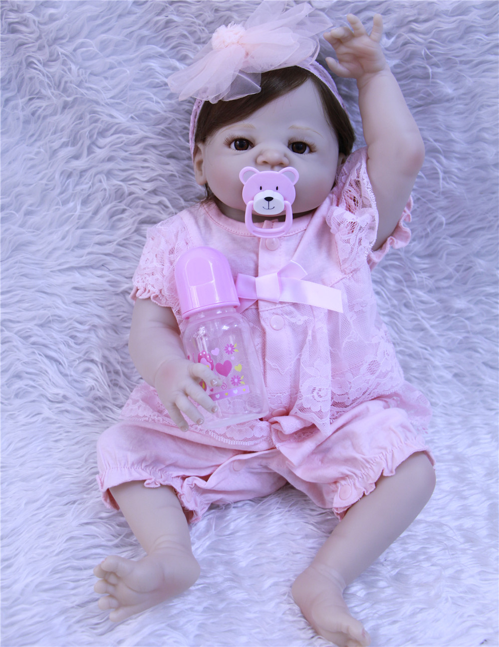 55CM full Silicone reborn baby doll toys for girl, lifelike reborn babies play house toy birthday gift girl brinquedos bonecas