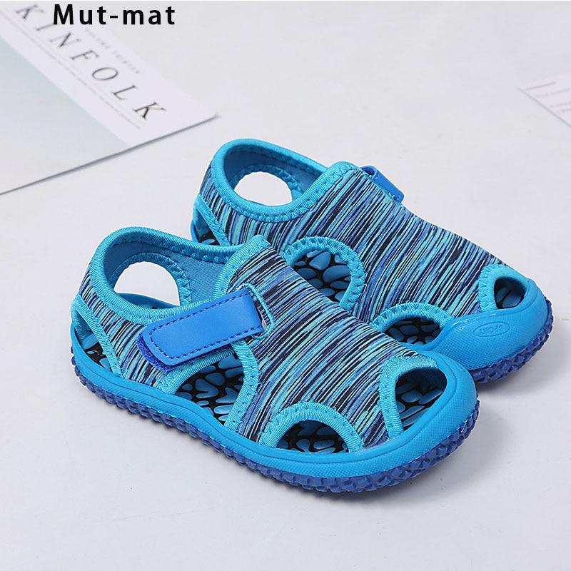 Summer Children's Sandals 2019 New Hollow Soft Bottom Boys Beach Shoes Children's Toddler Shoes Wear Non-slip Bare Shoes