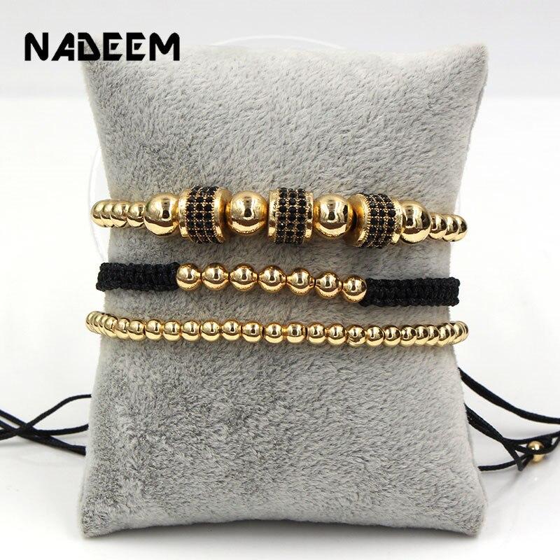 2019 Luxury 3Pcs/Set CZ Bracelet Sets Men Women Copper Beads CZ Tube Charm Braiding Couple Bracelet Sets For Lovers Jewelry Gift