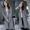 Жир мм темперамент XL-XXXL плюс размер свитер 2015 осень/зима новая мода кардиган свободные высокого класса женщин длинный свитер пальто