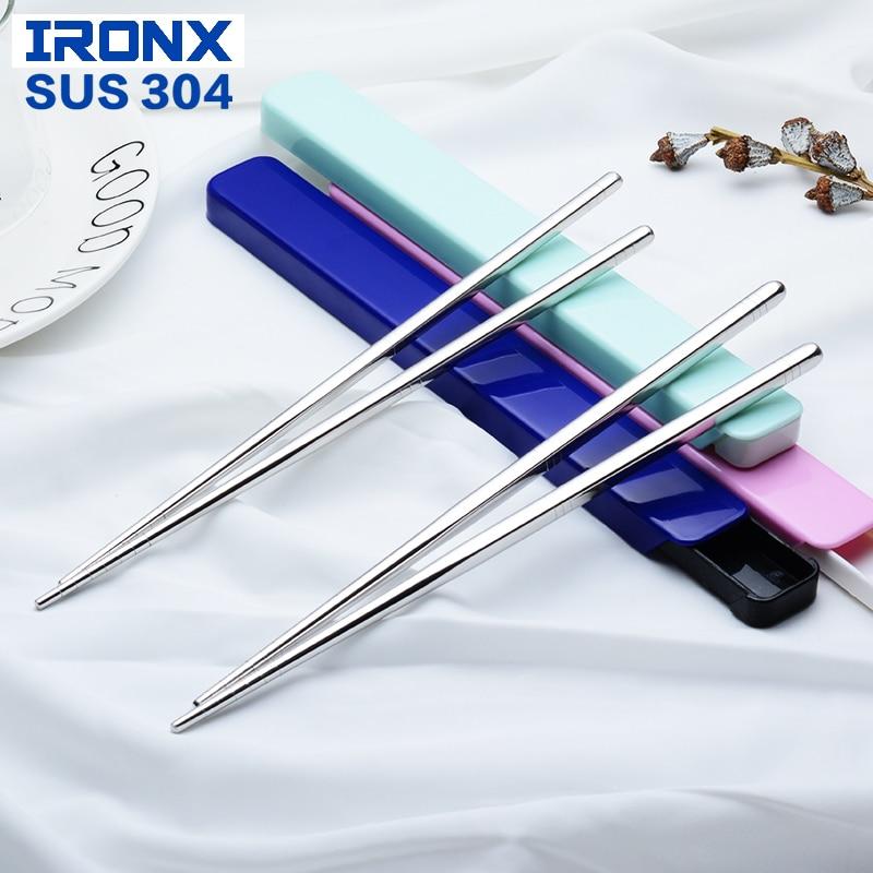 IRONX Sushi eetstokjes set met draagbaar doosje Roestvrijstalen hashi chopsticks etui