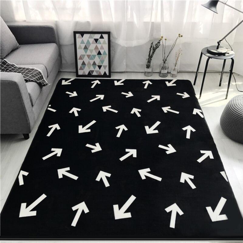 Mode noir blanc feuille flèche salon chambre décoratif tapis zone tapis salle de bain cuisine pied porte Yoga bébé tapis de jeu - 4