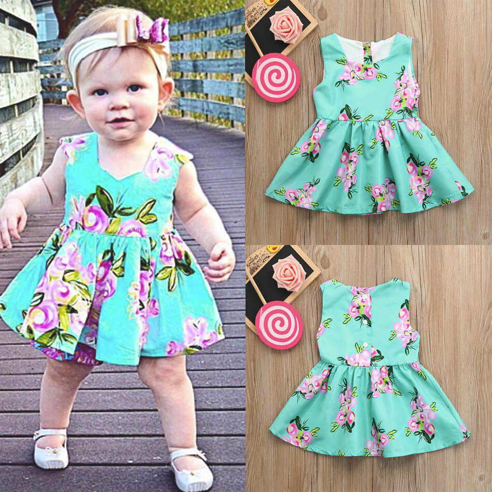 Baby Girls dresses Infant Floral Print Kids Dresses For Girls Sundress Clothes Button Princess Casual Dresses Children Costume