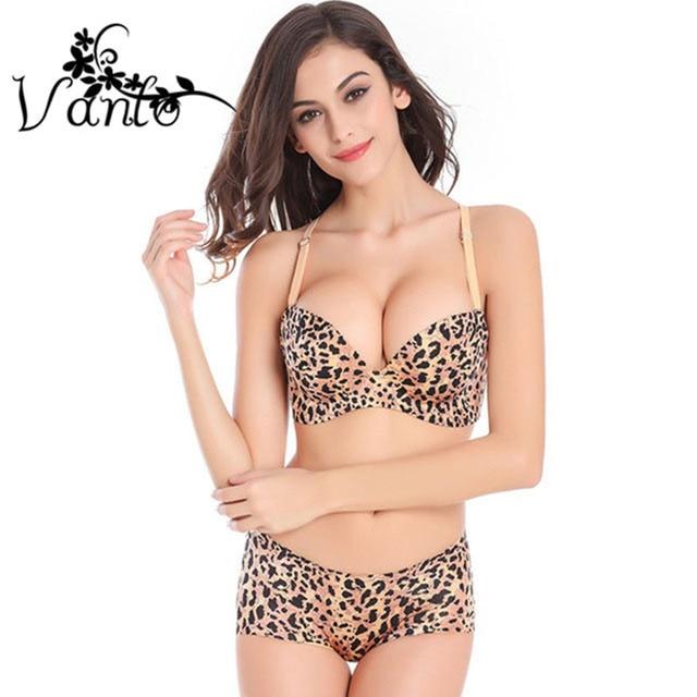 5a2f884eb0 2016 New Vanlo Brand Women Fashion Unique Sexy Comfortable Leopard Push Up  Bra Set for Women