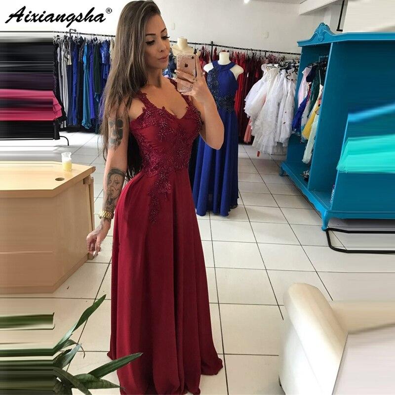 Elegant Burgundy Long 2019 Long Evening Dress Beaded Appliques Satin A Line Floor Length Prom Gowns robe de soiree
