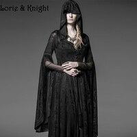 ゴシックロング黒編みジャカードフード付きドレスレディーススチームパンク魔女/巫女ハロウィン衣装レディース衣装
