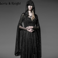 Gothic Long Black Knitting Jacquard Hooded Dress Womens Steampunk Witch Priestess Halloween Costume Womens Outfit